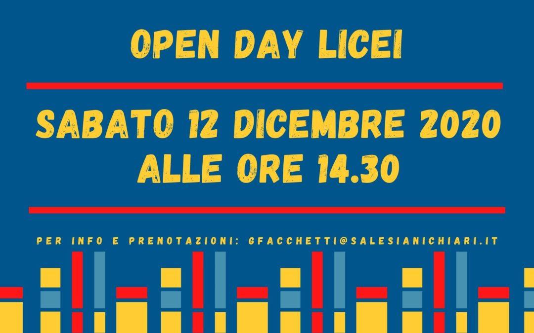 OPEN DAY ONLINE LICEI sabato 12 dicembre 2020